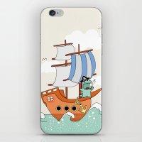Dinosaur on a ship iPhone & iPod Skin