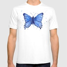 Butterfly Watercolor Blue Painting SMALL Mens Fitted Tee White