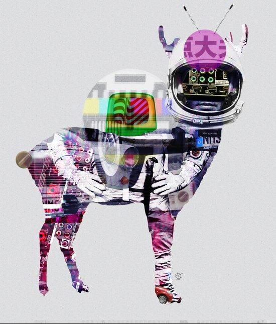 Deer Space Fusion Art Print