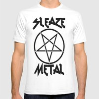 SLEAZE METAL Mens Fitted Tee White SMALL