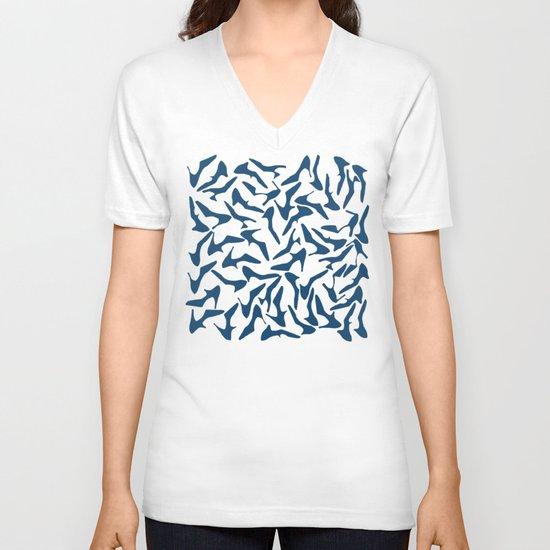 Shoes Navy on White V-neck T-shirt