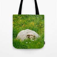 Sheep in the grass Tote Bag