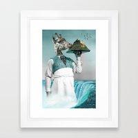 giraffe waiter with bombe alaska Framed Art Print