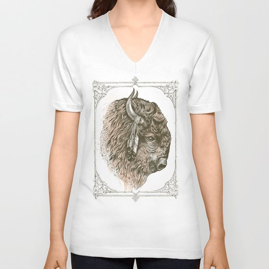 Buffalo Portrait V-neck T-shirt