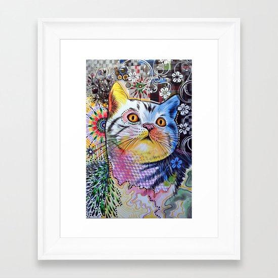 Chloe ... Abstract cat art Framed Art Print