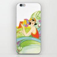 Retro Woman In Waves iPhone & iPod Skin