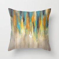 Navy and Gold Drips Throw Pillow