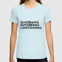 Sun, surf, bikinis Womens Fitted Tee Light Blue SMALL