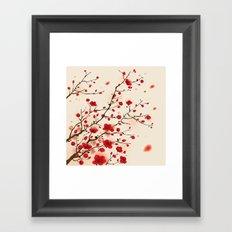 Oriental plum blossom in spring Framed Art Print