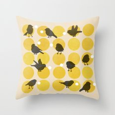 Birdsong Yellow Throw Pillow