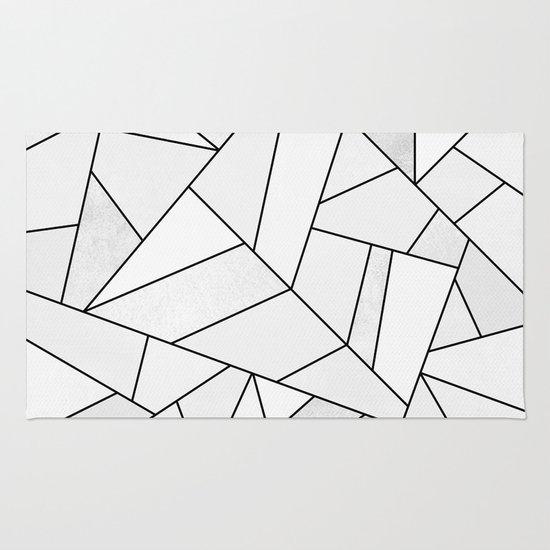 White Stone Black Lines Rug By Elisabeth Fredriksson