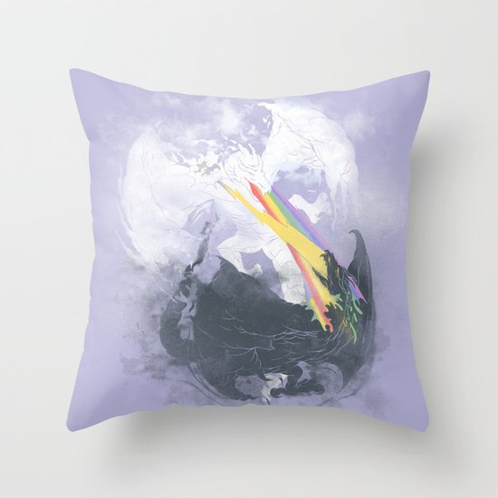 Clash of the sky Dragons Throw Pillow