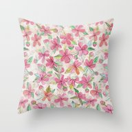 Pink Painted Blossom Pat… Throw Pillow