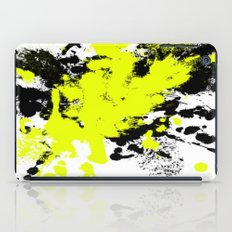 Surprise! Black and yellow abstract paint splat artwork iPad Case