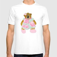 Rose Bear Mens Fitted Tee White SMALL