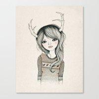 Antler Girl Canvas Print