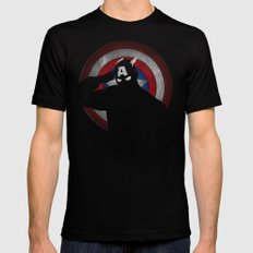 SuperHeroes Shadows : Captain America SMALL Mens Fitted Tee Black