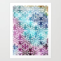 Motif Pattern_rainbow Art Print