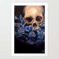 Skull & Blue Flowers Art Print