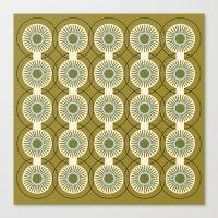 Vintage: Olive Circles Canvas Print