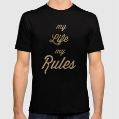 My Life my Rules Black SMALL Mens Fitted Tee