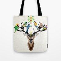 deer birds Tote Bag