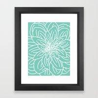 Abstract Flower Mint Green Framed Art Print
