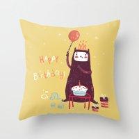Happy Birthday Purple Mo… Throw Pillow