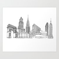 New York City by the Downtown Doodler Art Print