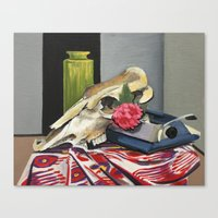 Skull And Typewriter Canvas Print