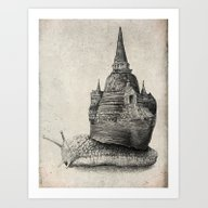 Art Print featuring The Snail's Dream (monoc… by Eric Fan