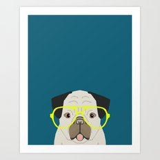 Emerson - Pug with neon Hipster Glasses, Cute Retro Dog, Dog, Husky with Glasses, Funny Dog Art Print
