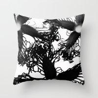 Three Black Flowers Throw Pillow