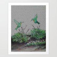 Hummingbirds And Hostas … Art Print