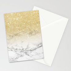 Modern faux gold glitter white marble color block Stationery Cards