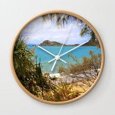 Idyllic Coastal View Wall Clock