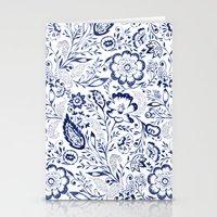 Folk Floral Indigo Stationery Cards