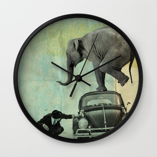 Looking for Tiny, Elephant on a VW beetle Wall Clock