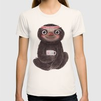 Sloth I♥yoga Womens Fitted Tee Natural SMALL