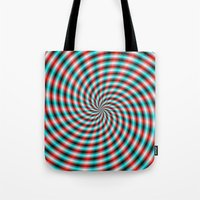 Turquoise And Red Spiral… Tote Bag