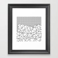 Abstract Grid #2 Black on White Framed Art Print