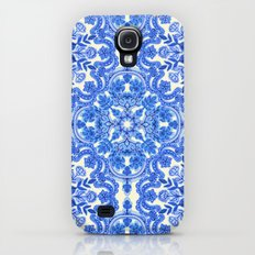 Cobalt Blue & China White Folk Art Pattern Galaxy S4 Slim Case