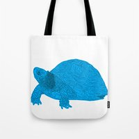 Turtle Illustration Blue Tote Bag