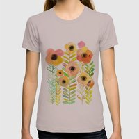 Peony field Womens Fitted Tee Cinder SMALL