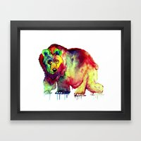 Coloured Bear Framed Art Print