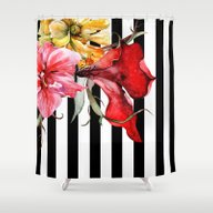 Shower Curtain featuring FLORA BOTANICA | Stripes by Cheryl Daniels