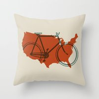 Bike America Throw Pillow