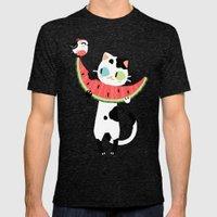 Watermelon Cat Mens Fitted Tee Tri-Black SMALL