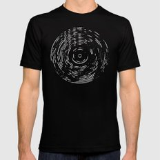 Record White on Black Mens Fitted Tee Black SMALL