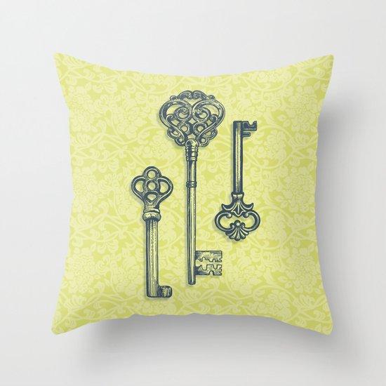 Three Skeleton Keys Throw Pillow
